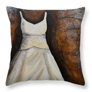 Long White Gown  Throw Pillow