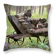 Long Winter Coming - Vintage Wheelbarrow - Casper Wyoming Throw Pillow