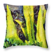 Long Yellow Leaves Throw Pillow