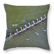 Longboat - Rowing On The Schuylkill River Throw Pillow