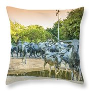 Longhorn Cattle Sculpture In Pioneer Plaza, Dallas Tx Throw Pillow