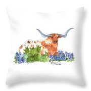 Longhorn In The Cactus And Bluebonnets Lh014 Kathleen Mcelwaine Throw Pillow