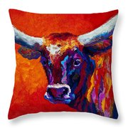 Longhorn Steer Throw Pillow