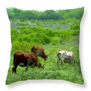 Longhorns - Grazing In The Wilds Throw Pillow