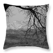 Longs Peak And Mt. Meeker The Twin Peaks Black And White Photo I Throw Pillow by James BO  Insogna