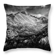 Longs Peak Rocky Mountain National Park Black And White Throw Pillow