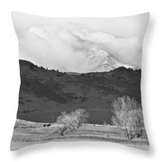 Longs Peak Snow Storm Bw Throw Pillow