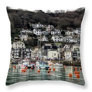 Looe Harbour - Cornwall Throw Pillow