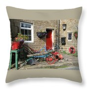 Looking At A Old Stone House Throw Pillow by Joyce Woodhouse