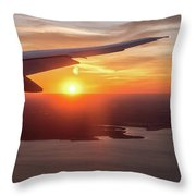 Looking At Sunset From Airplane Window With Lake In The Backgrou Throw Pillow