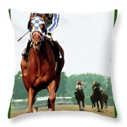 Looking Back, 1 1/2 Mile Belmont Stakes Secretariat 06/09/73 Time 2 24 - Painting Throw Pillow