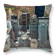 Looking Down At New York Central Park Surounded By Buildings Throw Pillow