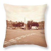 Looking Down Brunswick Square C York Street Bristol England Throw Pillow