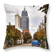 Looking Down Dauphin Street And The Blue Truck Throw Pillow