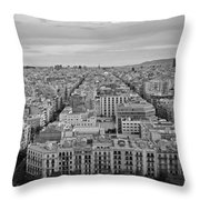 Looking Down On Barcelona From The Sagrada Familia Black And White Throw Pillow