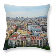 Looking Down On Barcelona From The Sagrada Familia Throw Pillow