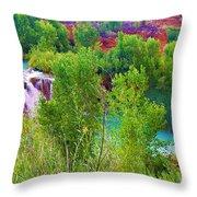 Looking Down On Navajo Falls And Havasu Creek Throw Pillow