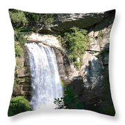 Looking Glass Falls Nc Throw Pillow
