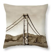 Looking North At The Golden Gate Bridge Under Construction With No Deck Yet 1936 Throw Pillow
