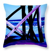 Looking On - Blue Throw Pillow