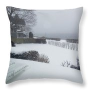 Looking Out From A Porch To The River Throw Pillow