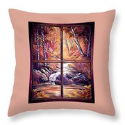 Looking Out My Window Digital Throw Pillow