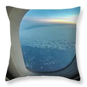 Looking Out Of Airplane Window During Flight Throw Pillow