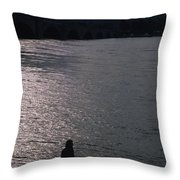 Looking Out Over A Flooded Potomac Throw Pillow