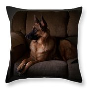 Looking Out The Window - German Shepherd Dog Throw Pillow