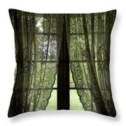 Looking Out The Window Of A Log Cabin Throw Pillow