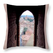 Looking Out The Window On Siena Throw Pillow
