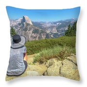 Looking Panorama At Glacier Point Throw Pillow