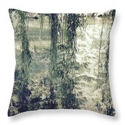 Looking Through The Willow Branches Throw Pillow