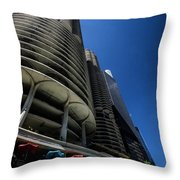 Looking Up At Chicago's Marina Towers Throw Pillow
