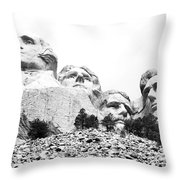Looking Up At Mount Rushmore National Monument South Dakota Black And White Throw Pillow