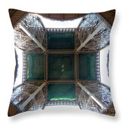Looking Up Eiffel Tower Throw Pillow