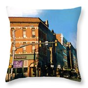 Looking Up Main Street Throw Pillow