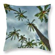 Looking Up The Hawaiian Palm Tree Hawaii Collection Art Throw Pillow