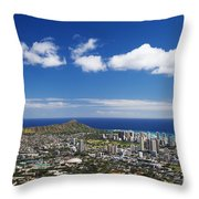 Lookout View Of Honolulu Throw Pillow