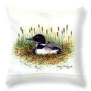 Loon And Baby Judy Filarecki Watercolor Throw Pillow