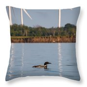 Loon And Windmills Throw Pillow