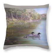 Loon Family 1 Throw Pillow by Jan Byington