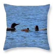 Loon Family Feeding Time Throw Pillow