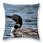 Loon In Blue Waters Throw Pillow