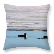 Loon On The Arctic Throw Pillow