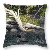 Loons On Saranac Lake Throw Pillow