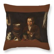 Lopez Caro, Francisco 1598, 1661 Kitchen Boy Ca. 1620 Throw Pillow
