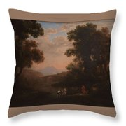 Lorena, Claudio De Chamagne, 1600 - Roma, 1682 Ford Of A River Ca. 1636 Throw Pillow