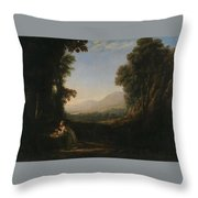 Lorena, Claudio De Chamagne, 1600 - Roma, 1682 Landscape With Saint Mary Of Cervello Ca. 1637. Throw Pillow