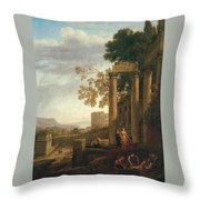 Lorena, Claudio De Chamagne, 1600 - Roma, 1682 Landscape With The Burial Of Saint Serapia Ca. 1639 Throw Pillow